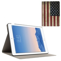 Wholesale Retro Style USA Flag Flip Stand Leather Case for iPad Air 2