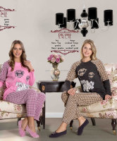 ladies printed polar fleece sleepwear pajama set for winter