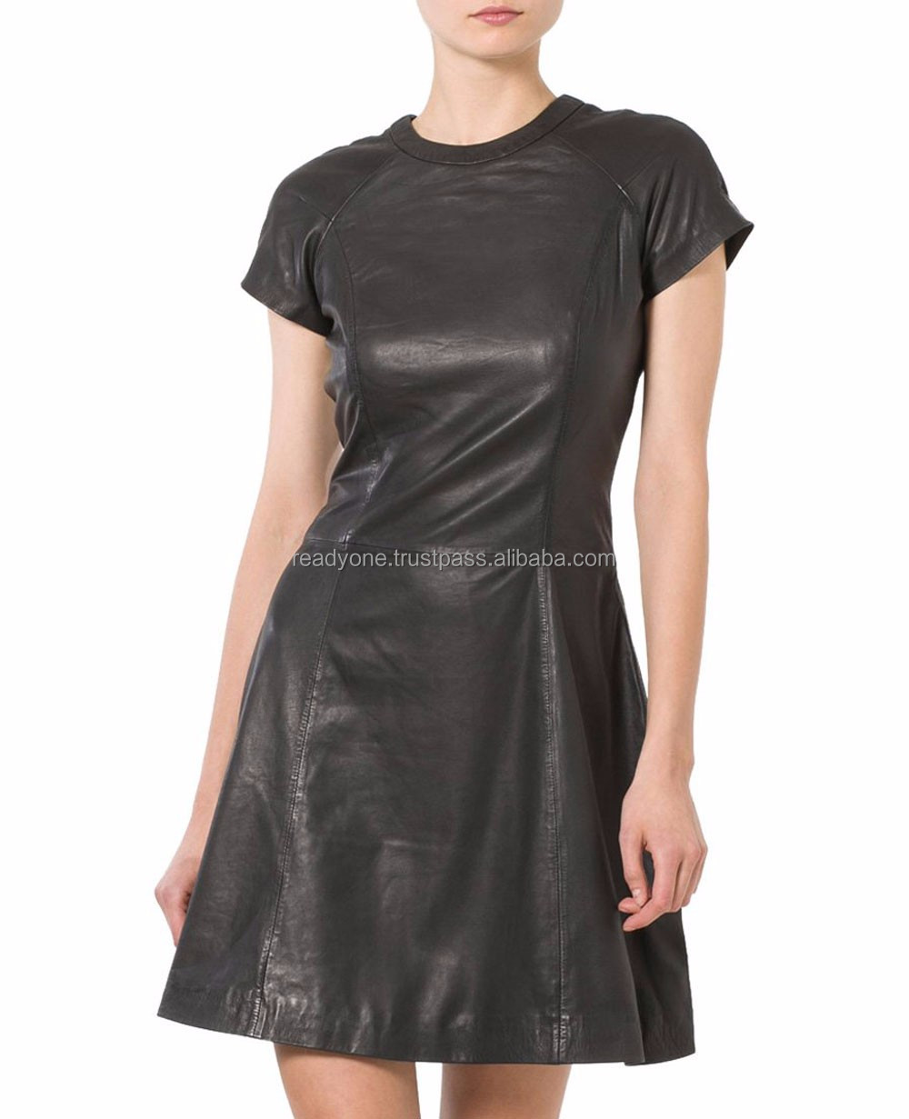 New arrivals turn down collar winter tight leather dress for ladies