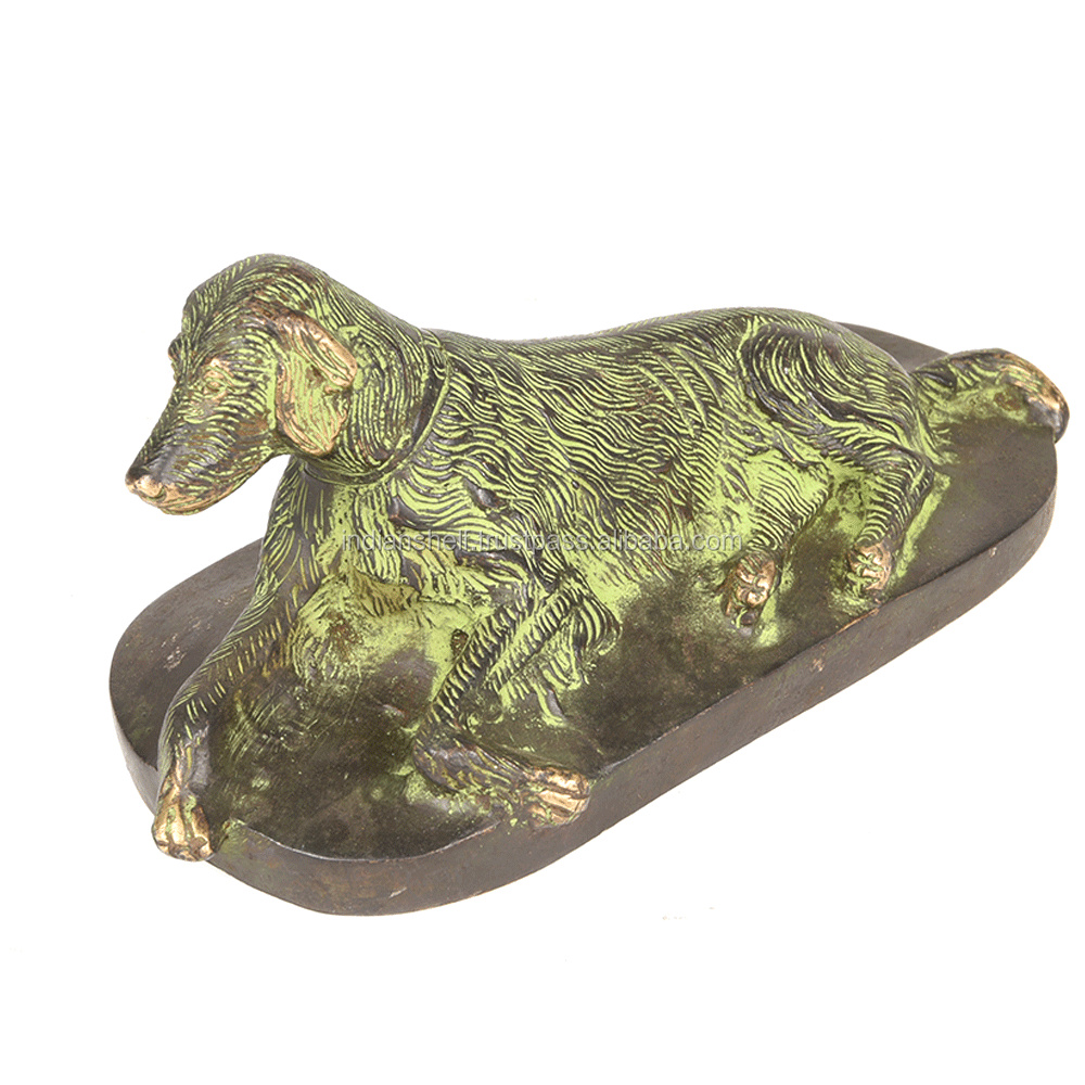 Indian Brass Vintage Bronze Sitting Dog Statue SMG-341