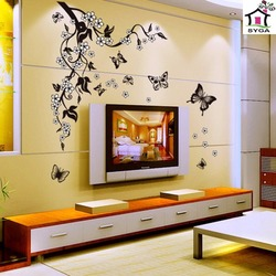 SYGA BEAUTIFUL FLORAL VINES & BUTTERFLIES WALL STICKERS