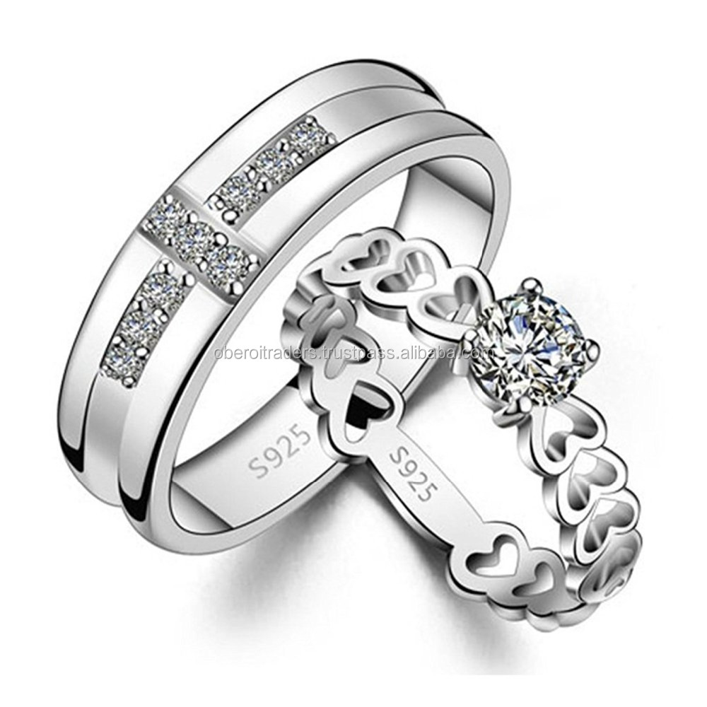 Riwaz Boutique Love Birds 925 Silver Plated Hearts and Crystal Couple Rings for Girls and Boys