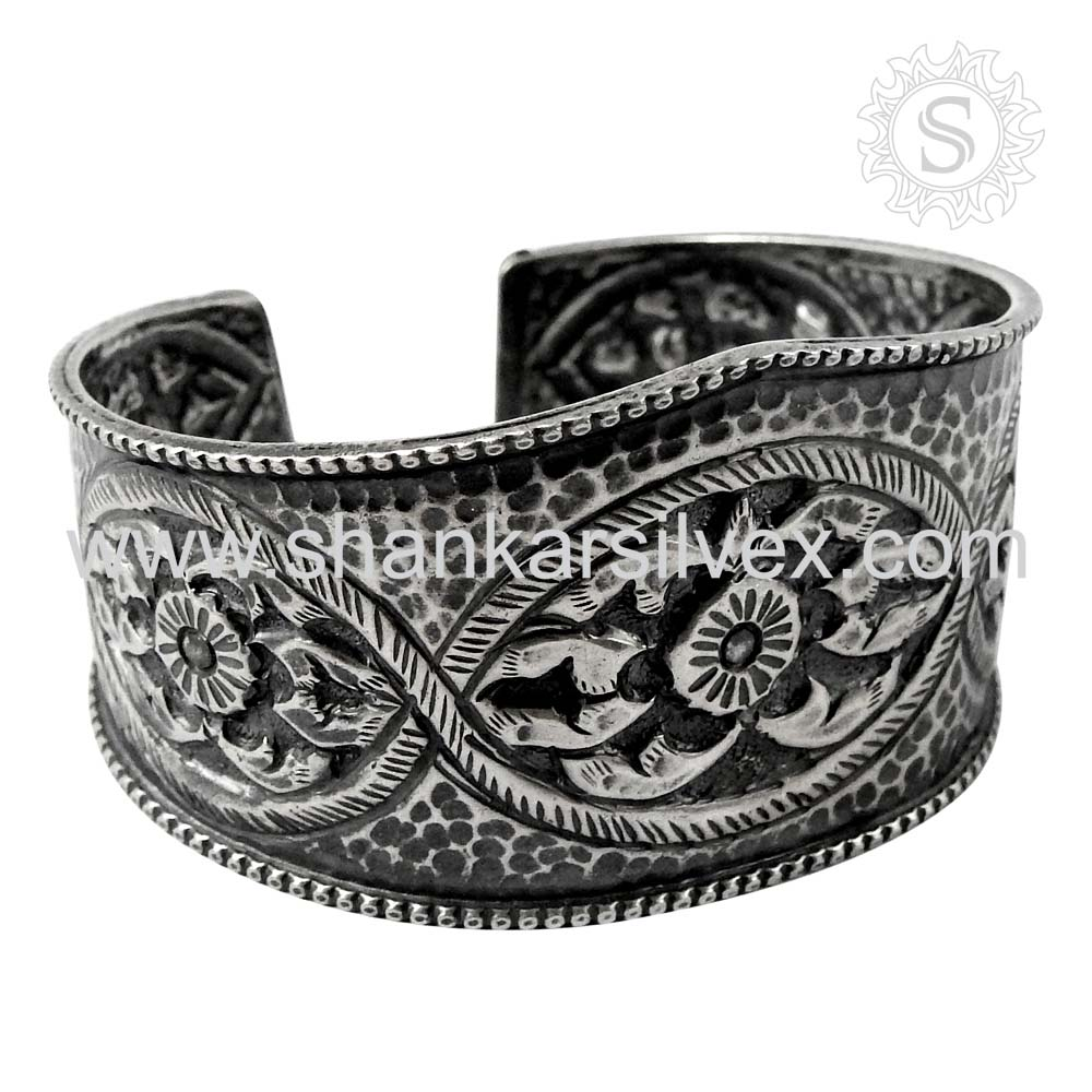 High Quality Bangle Indian Silver Jewelry Custom Engraved Handmade Silver Bangle Jewelry Wholesale 925 Silver Jewelry India