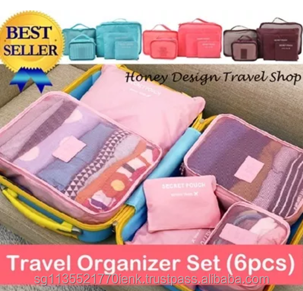 Best Seller Secret Pouch Multi-Functional Korean Style Waterproof 6pcs Travel Organizer Set