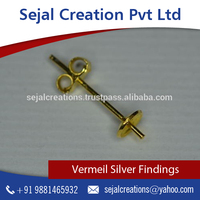 Popular Selling Gold Plated Vermeil Stud with Cap Available for Jewelry Making