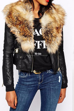 Women's Winter Leather Jacket with Faux Fur Collar