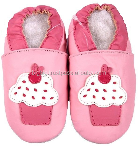Big Big cupcake pink 6-12m soft sole leather baby shoes