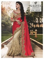 Indian red wedding lehenga sraee - Wedding reception lehenga saree - Hand saree blouse designs - Heavy border work saree