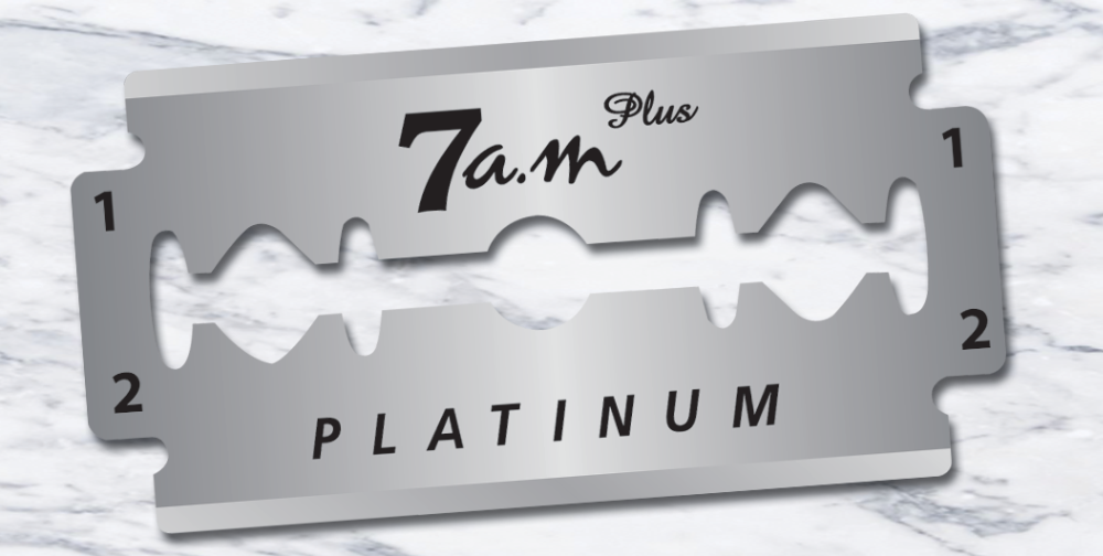 7AM PLUS PLATINUM COATED DOUBLE EDGE RAZOR BLADES.