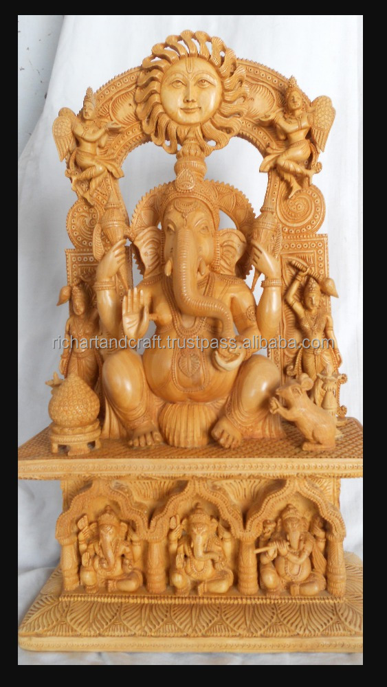Wooden Handicraft wood Carving Hindu God Ganesha Rich Art And Craft Jaipur Rajasthan India Artisan Statue sculpture