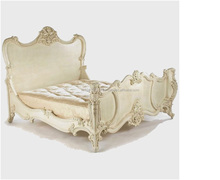 CARVING CLASSIC WOODEN CREAM FANCY DOUBLE BED 19