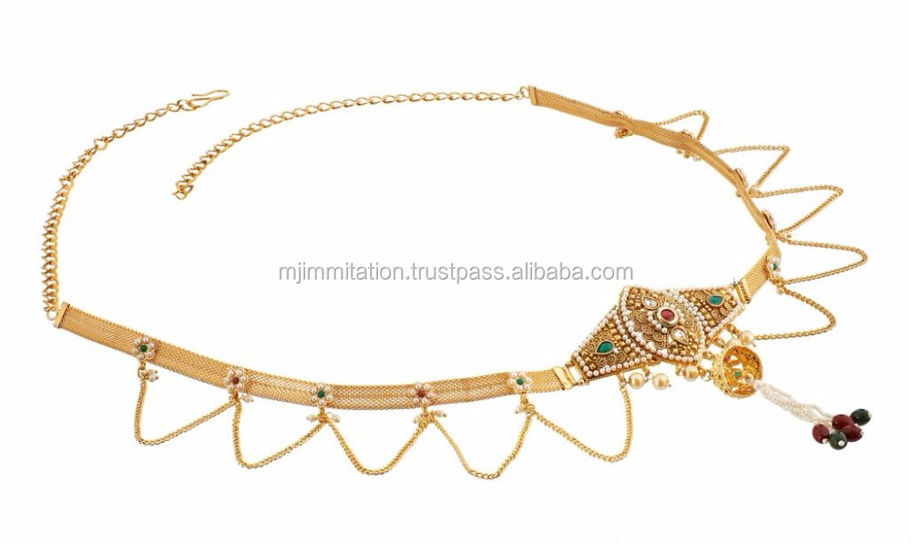 Latest 2017 Waist Chain belly body chain Kamar Patta Jewelry Gold Plated Belly Body Chain