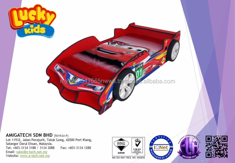 LUCKY KIDS - F1 Racing Sport Car for kids Super Single Kids Bed furniture Bedroom with Wheels