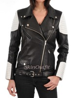 Hot sale cheap slim fit leather jackets for women