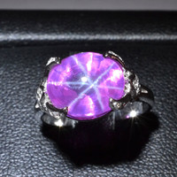 10x8 MM Ruby Star Sapphire Ring Lab-Created Sterling Silver 92.5 Size 5.5