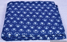 Sanganeri Print Indigo Blue Floral Art Throw 100% Pure Cotton Handmade Fabric