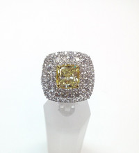 2.00 ct Cushion Fancy Yellow Diamond 18K White Gold Ring