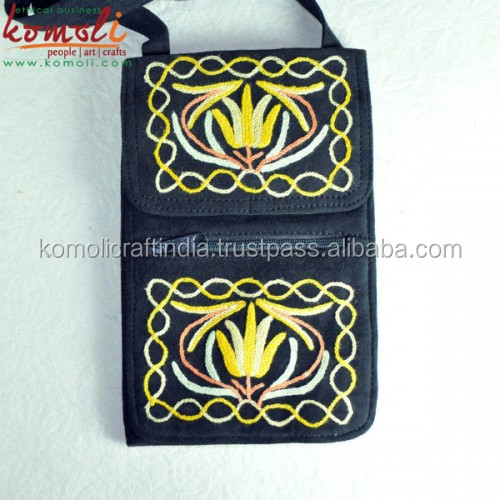 Travellers Split Suede Leather Sling Bag - Indian Embroidery Leather Bag
