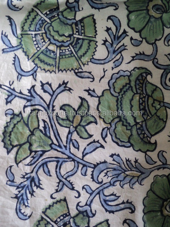 Indian hand block printed textile, Hand block Floral Indian printed fabrics