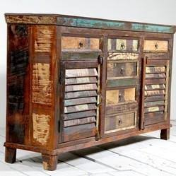 Indian recycled wood 6 drawer 4 door sideboard