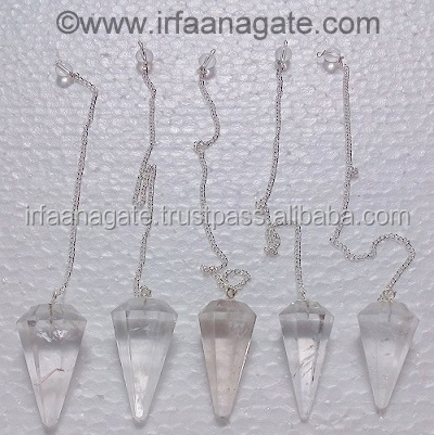 Crystal Quartz 6 Faceted Dowsing Pendulums: Wholesale Gemstone Faceted Spinning Pendulums