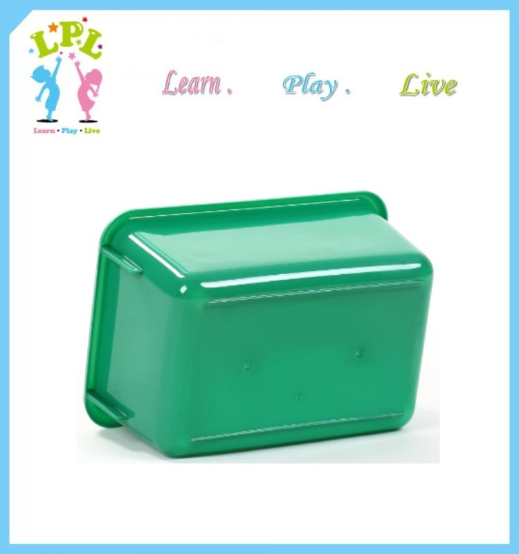 2017 latest design rounded edge pure color customized logo plastic storage bin for toys storage