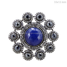 925 Sterling Silver Pave Diamond Black Spinel Gemstone Blue Sapphire Ring