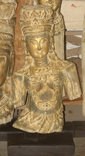 Wood carving statue in an old look colour