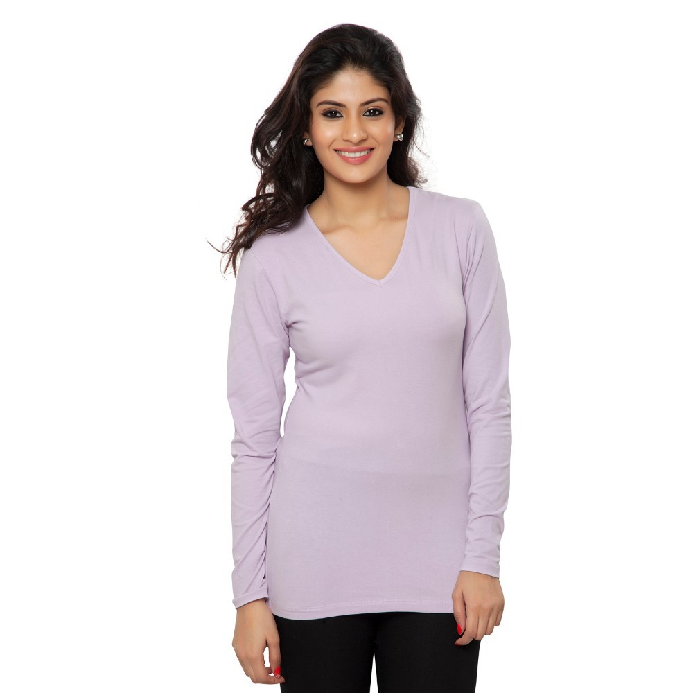 Clifton Women's Basic T Shirt Full Sleeve V-Neck - Lilac