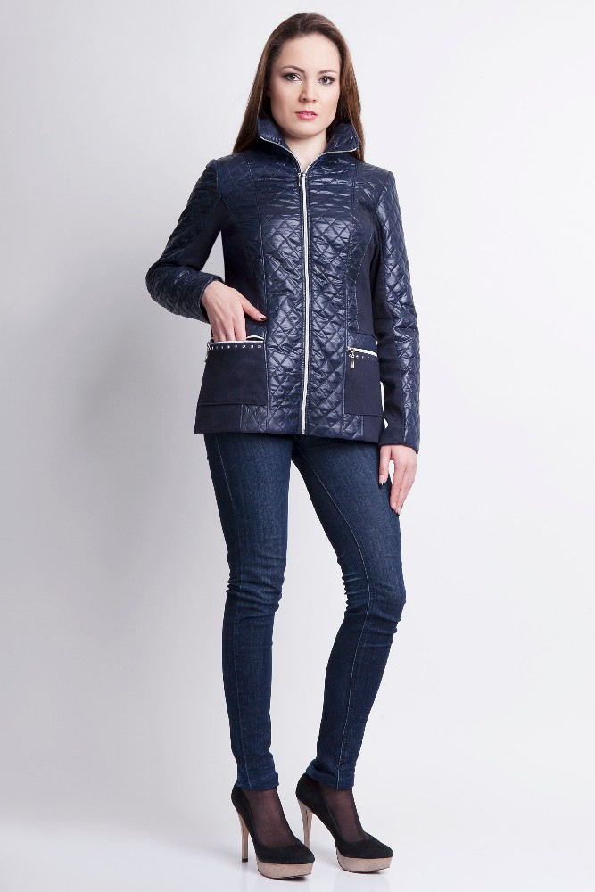 Ladies spring quilted high collar jacket