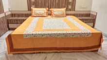 KRISHNA , DOT WITH JAAL PRINT , DOUBLE BED SHEET WITH PILLOW COVER