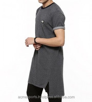 long line tall a shirts - Mens long tail sleevs elongate extended long T shirt 100% cotton wholesale cheap