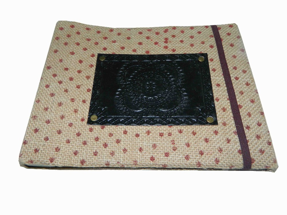HANDMADE LEATHER & JUTE OLD STYLE PHOTO ALBUM TRADITIONAL PATTERN EMBOSSED WITH ELASTIC OFF WHITE HANDMADE PAPER WHOLESALER