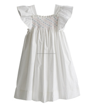 Fully lined high quality white smocked children dress, frock design for baby girl, children boutique clothing