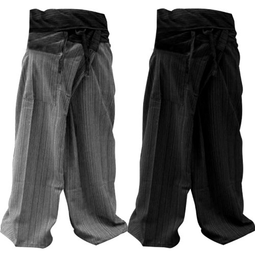 FREE SHIPPING 1 set 2 pair 2 Tone Thai Fisherman Pants Yoga Trousers Free Size Cotton