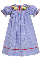 Back to school smocked bishop dress