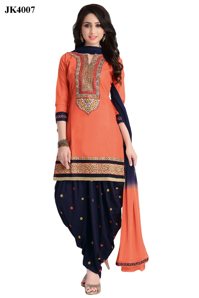 Charismatic Dark Orange And Navy Blue Color Floral Embroidery Work Exclusive Patiala Suit