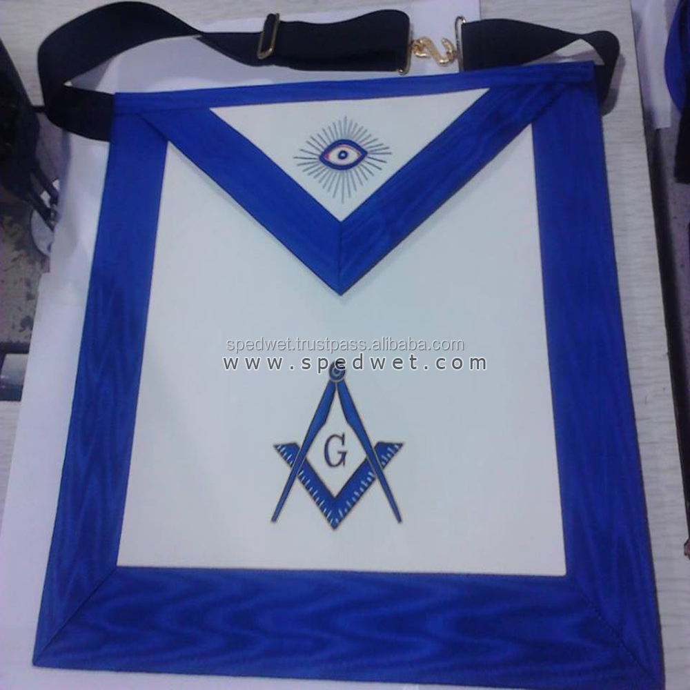 Masonic hand embroidery blue lodge master mason MM apron