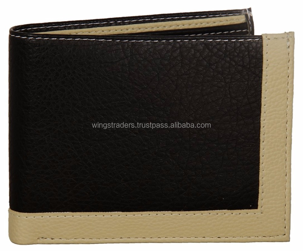 Classy Black & Beige Grainy Card Coin Pocket Top Flap Men's Wallet