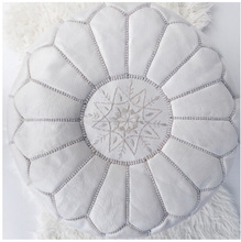 Authentic Handmade Genuine Leather White Ottoman Pouf