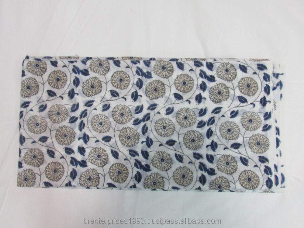wholesale indian handmade blue floral cotton embroidery twill peach fabric