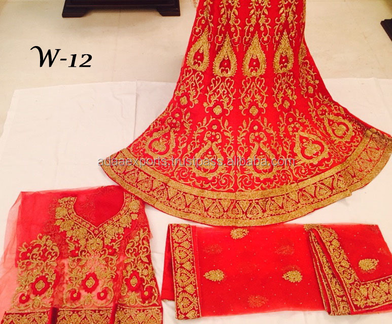 Wholesale Red Full Embroidered Bridal Lehengas For Wedding