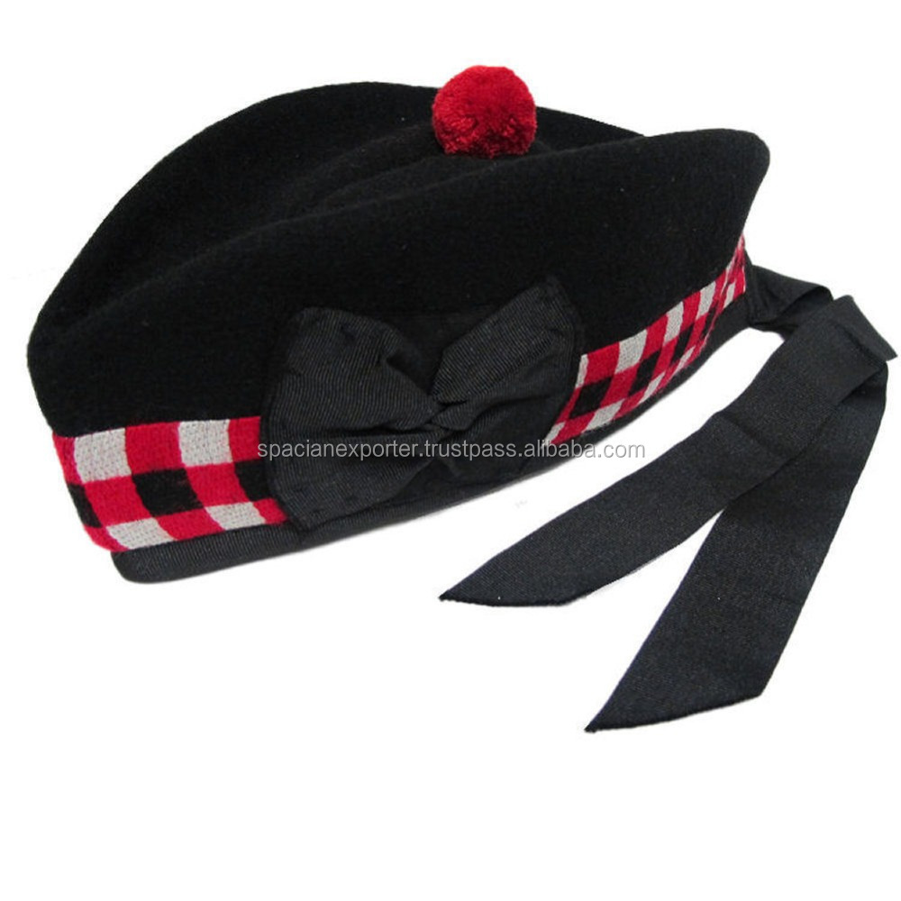 Red, Black & White Diced Glengarry Wool Scottish Kilt Hat Highland Wear