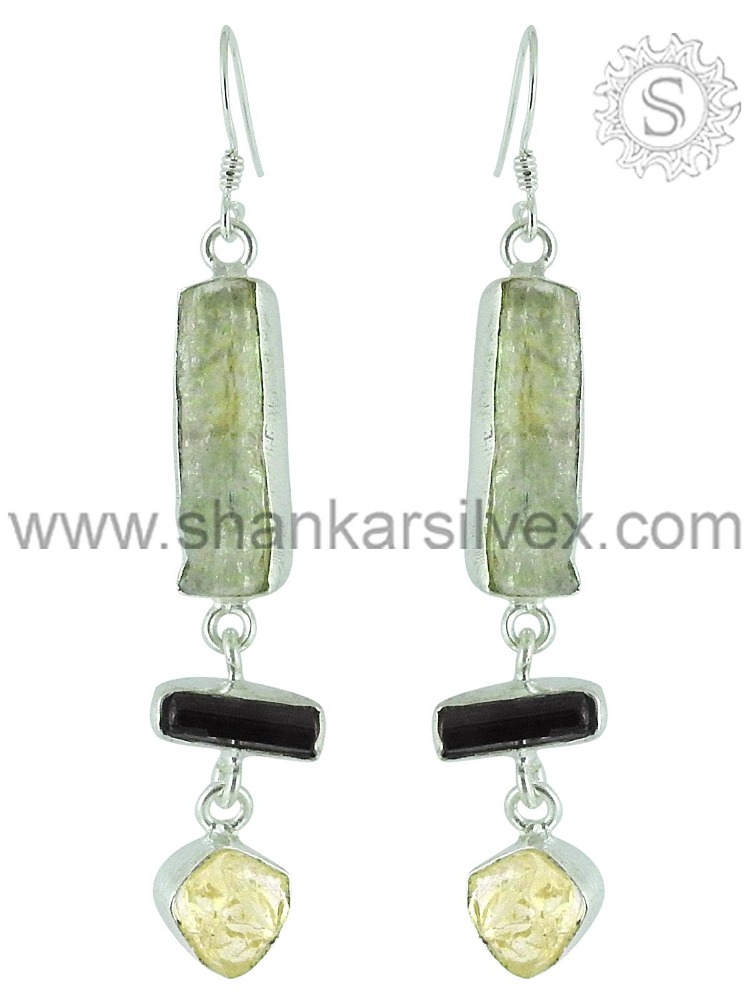 Wholesale Sterling Silver Jewelry Citrine, Aquamarine,black tourmaline Earring ERCB15-1034-8