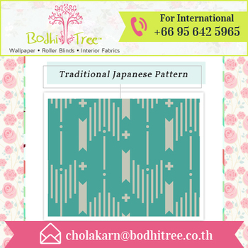 Pastel Shade Traditional Art Japanese Pattern Thai Vinyl Wallpaper