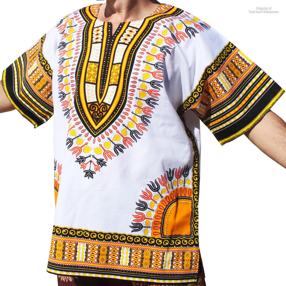 Dashiki Shirt African Freedom Short Sleeve Multi Vibrant Colors 100% Cotton