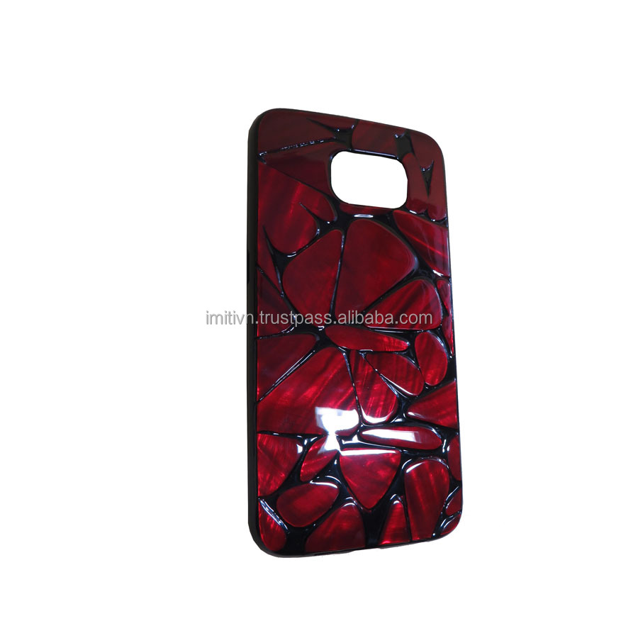 Natural mother of pearl inlay cell phone case - unique mobile phone accessory