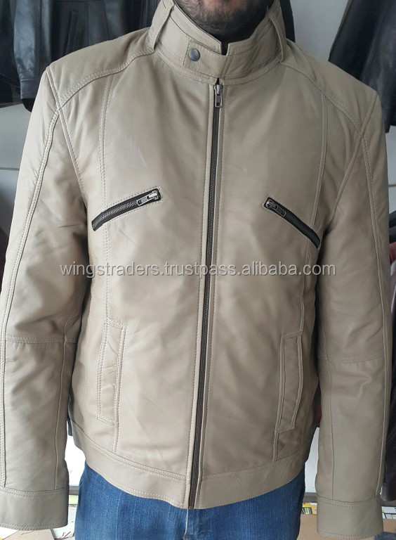 Off White Goat Leather Jacket With Neck Button