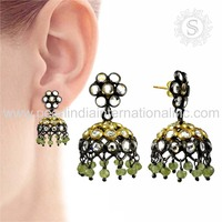 Especial jhumki earrings 925 sterling silver jewelry micro pave multi gemstone earring wholesaler silver jewelry suppliers