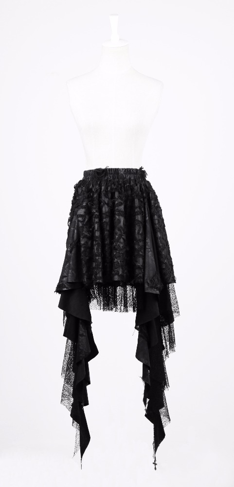 Layered black frill asymmetric gothic skirt Q-201 Punk Rave